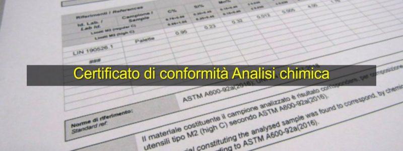 Certificato di conformità Analisi chimica